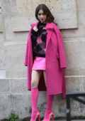 Lily Collins looks pretty in pink while on the set of 'Emily In Paris' in Paris, France