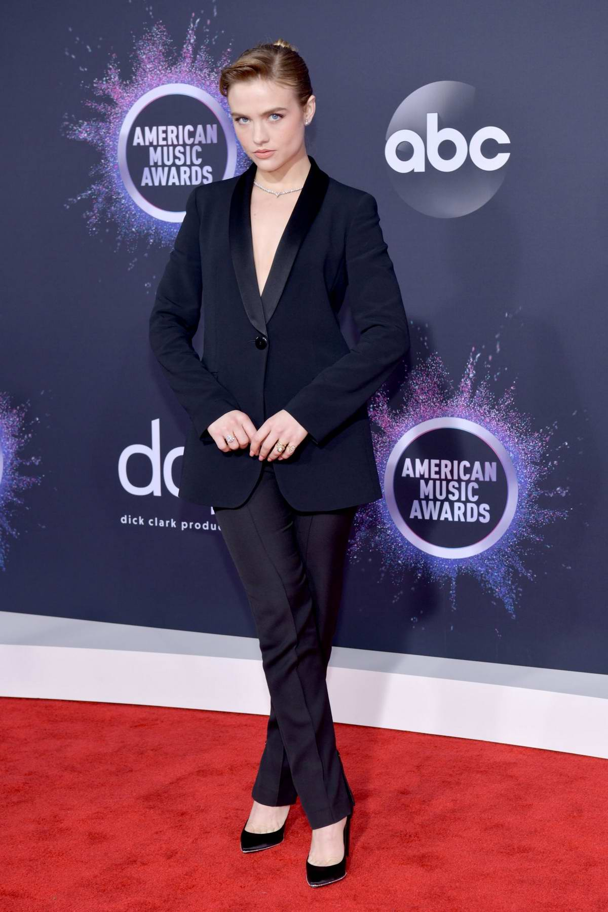 Maddie Hasson attends the 2019 American Music Awards at Microsoft Theater in Los Angeles