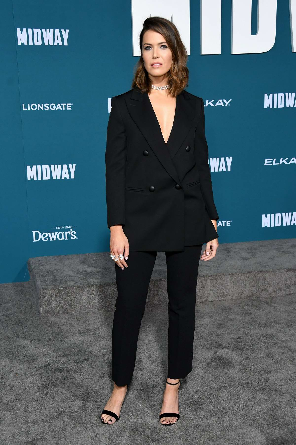 Mandy Moore attends the Premiere of 'Midway' at Regency Village Theatre in Westwood, California