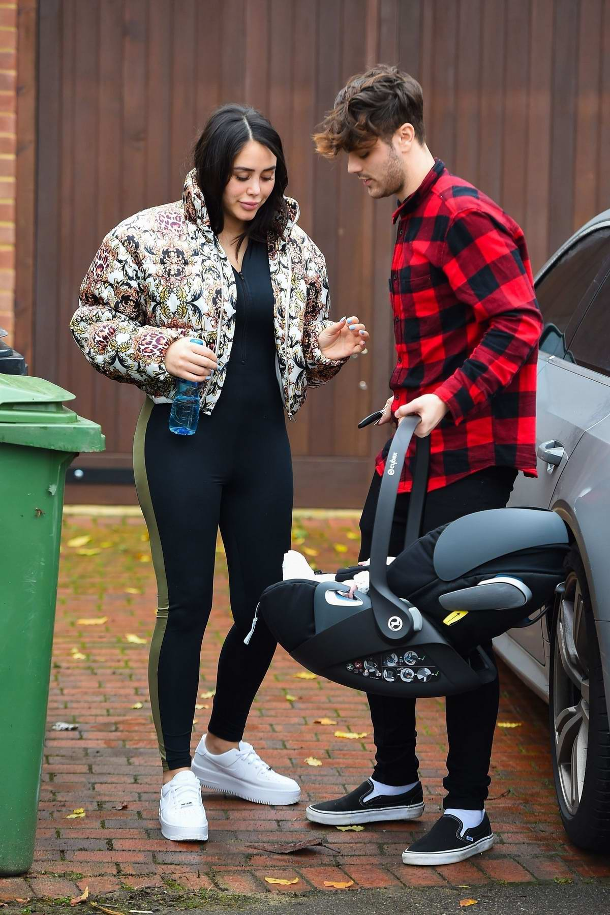 Marnie Simpson seen for the first time with her newborn baby in London, UK