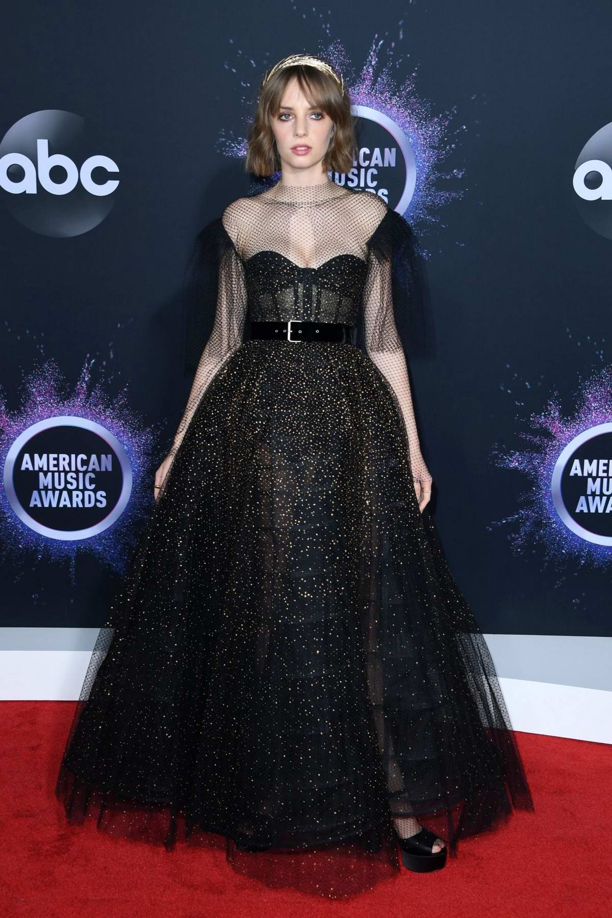 Maya Hawke attends the 2019 American Music Awards at Microsoft Theater in Los Angeles