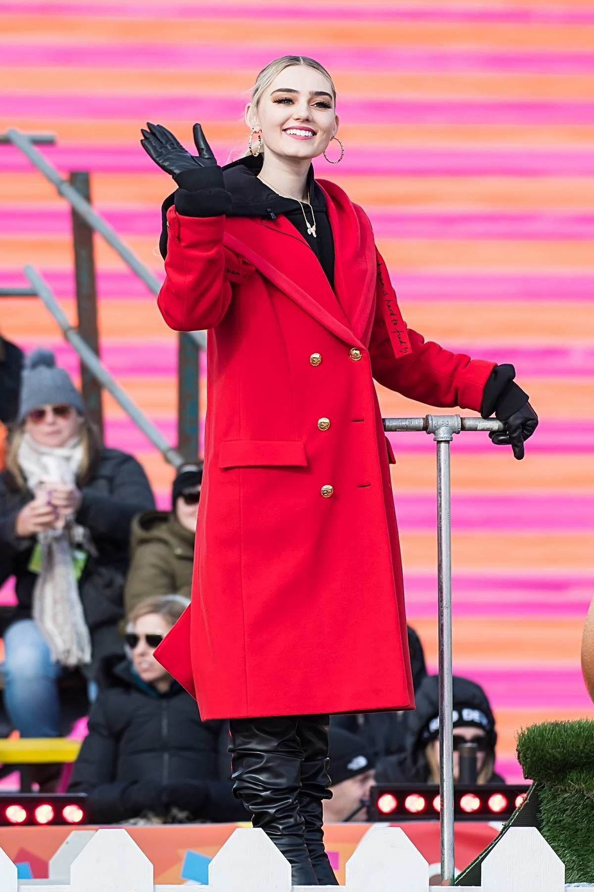 Meg Donnelly attends the 100th 6ABC Dunkin' Thanksgiving Day Parade in Philadelphia, Pennsylvania