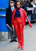 Naomi Scott looks striking in bright leather ensemble while visiting 'Good Morning America' in New York City
