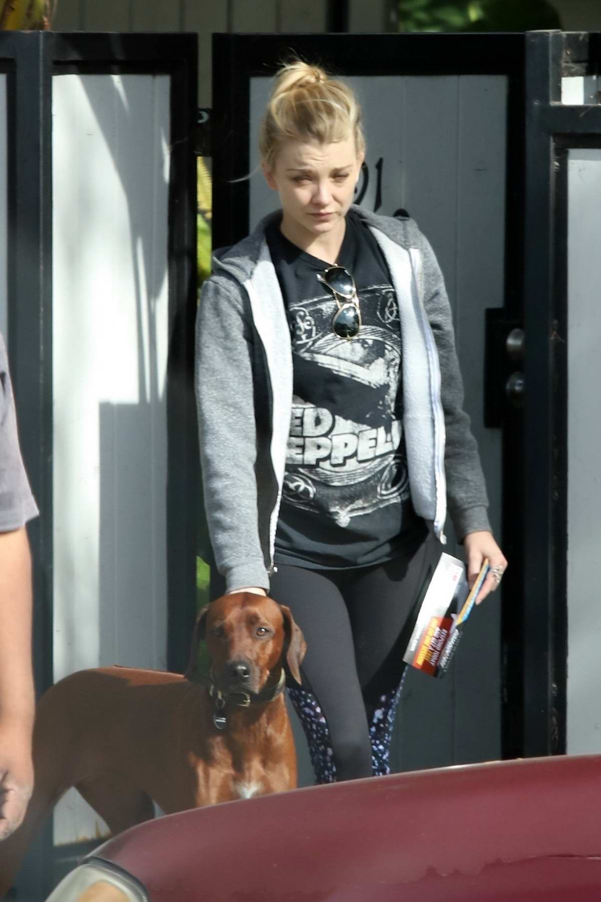 Natalie Dormer dresses down in a cozy jacket and leggings as she takes her dog out for a walk in Los Angeles