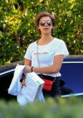 Nina Dobrev sports a short hair wig as she arrives at a friend's house on Halloween in Los Angeles