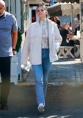 Selena Gomez looks chic while attending a business meeting at the Brentwood Country Mart in Brentwood, California