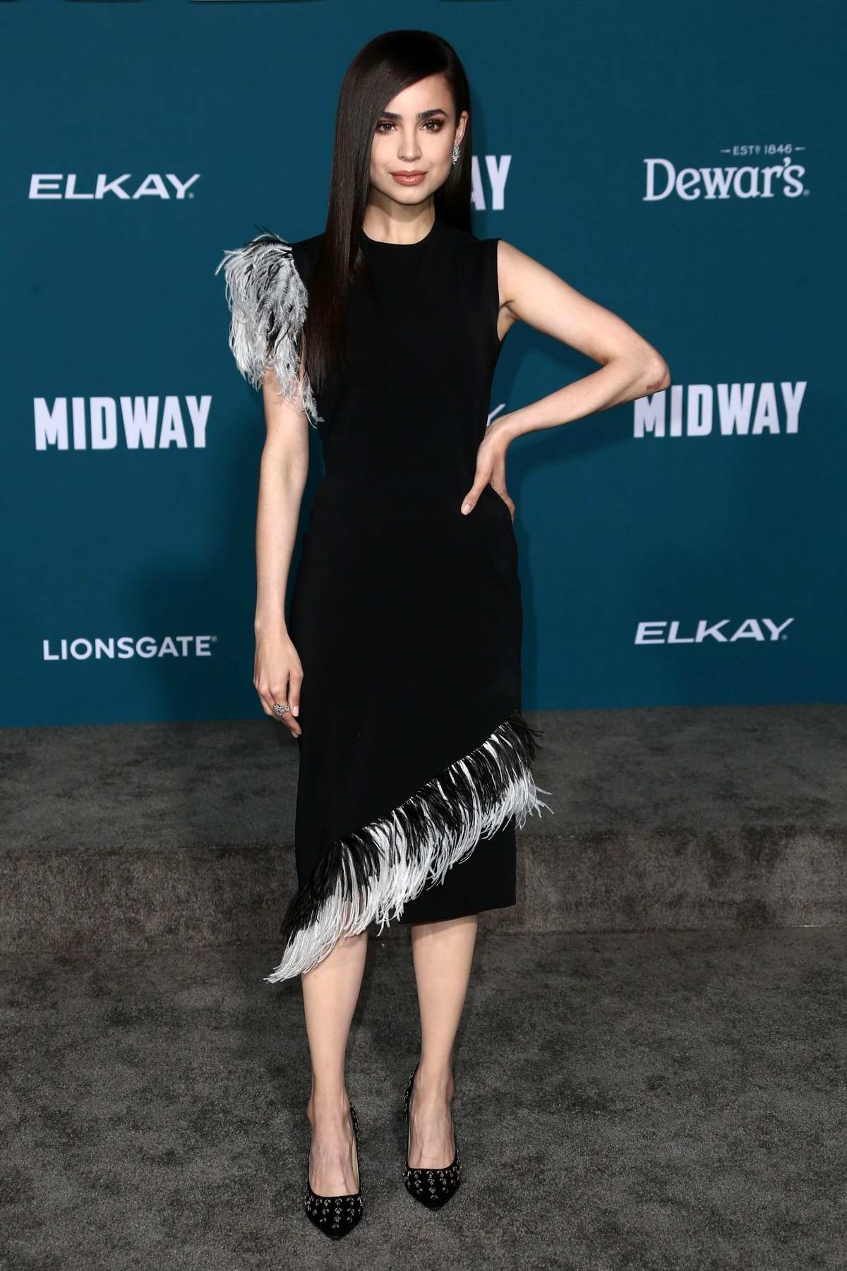 Sofia Carson attends the Premiere of 'Midway' at Regency Village Theatre in Westwood, California
