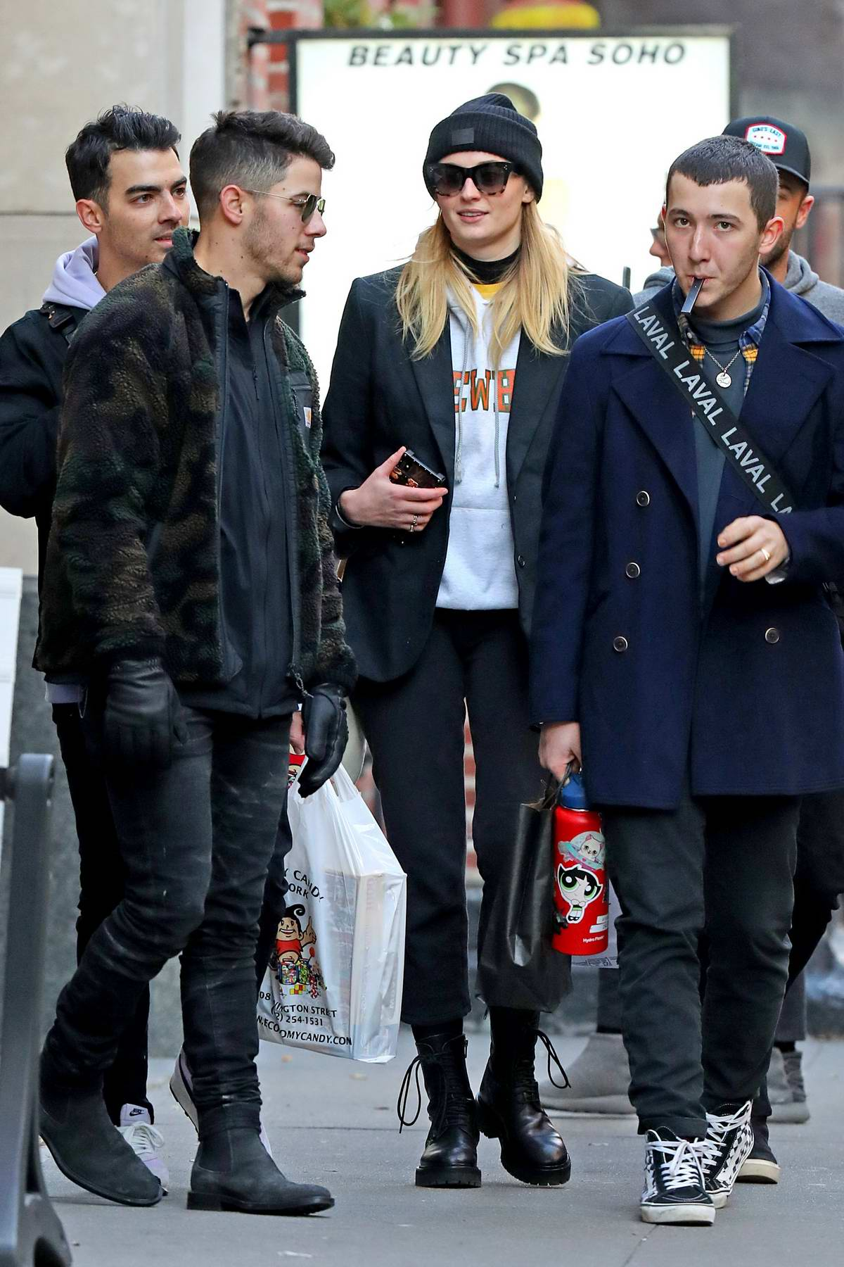 Sophie Turner and Joe Jonas step out with Nick and Frankie Jonas in New York City