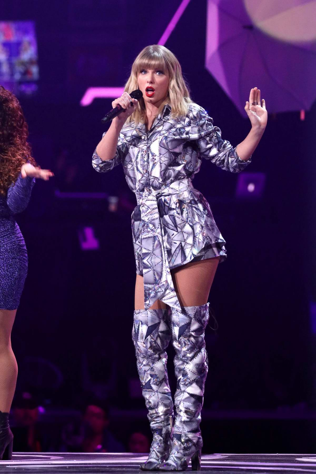 Taylor Swift performs on stage during the Gala of Alibaba at Mercedes-Benz Arena in Shanghai, China