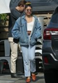 Vanessa Hudgens dons double denim for a lunch outing with her family and Austin Butler in Los Angeles