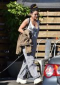 Vanessa Hudgens dons pinstriped overalls while out with her pup in Los Feliz, California