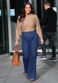 Vicky Pattison looks great in beige top and denim jeans exits BBC studios in London, UK