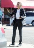 Zendaya spotted in a plaid blazer and black trousers while out for a business meeting in Burbank, Los Angeles