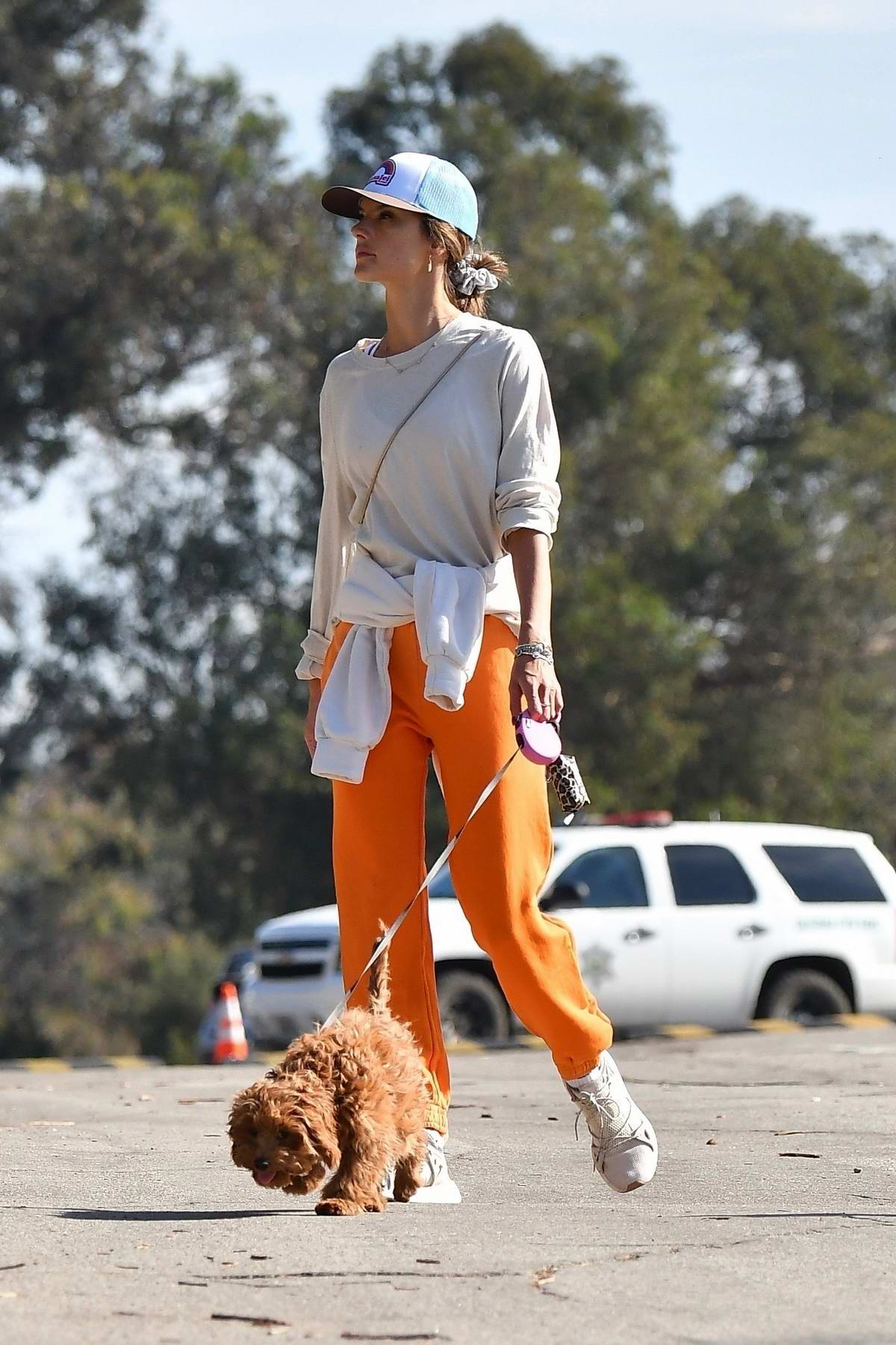 Alessandra Ambrosio and Nicolo Oddi enjoy a day hiking with their dogs in Brentwood, California