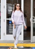 Alessandra Ambrosio keeps it casual in a lavender sweater as she buys some flowers and stops by the Bank in Brentwood, California