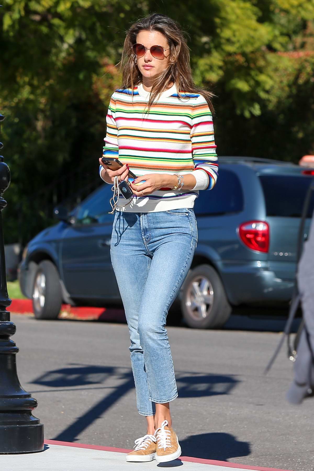 Alessandra Ambrosio looks casual and relaxed as she enjoys an afternoon stroll in Los Angeles