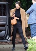 Alessandra Ambrosio seen wearing a brown teddy coat she walks to her SUV in Brentwood, California