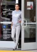 Alessandra Ambrosio sports a makeup free look as she makes a quick stop at a bank in Brentwood, California