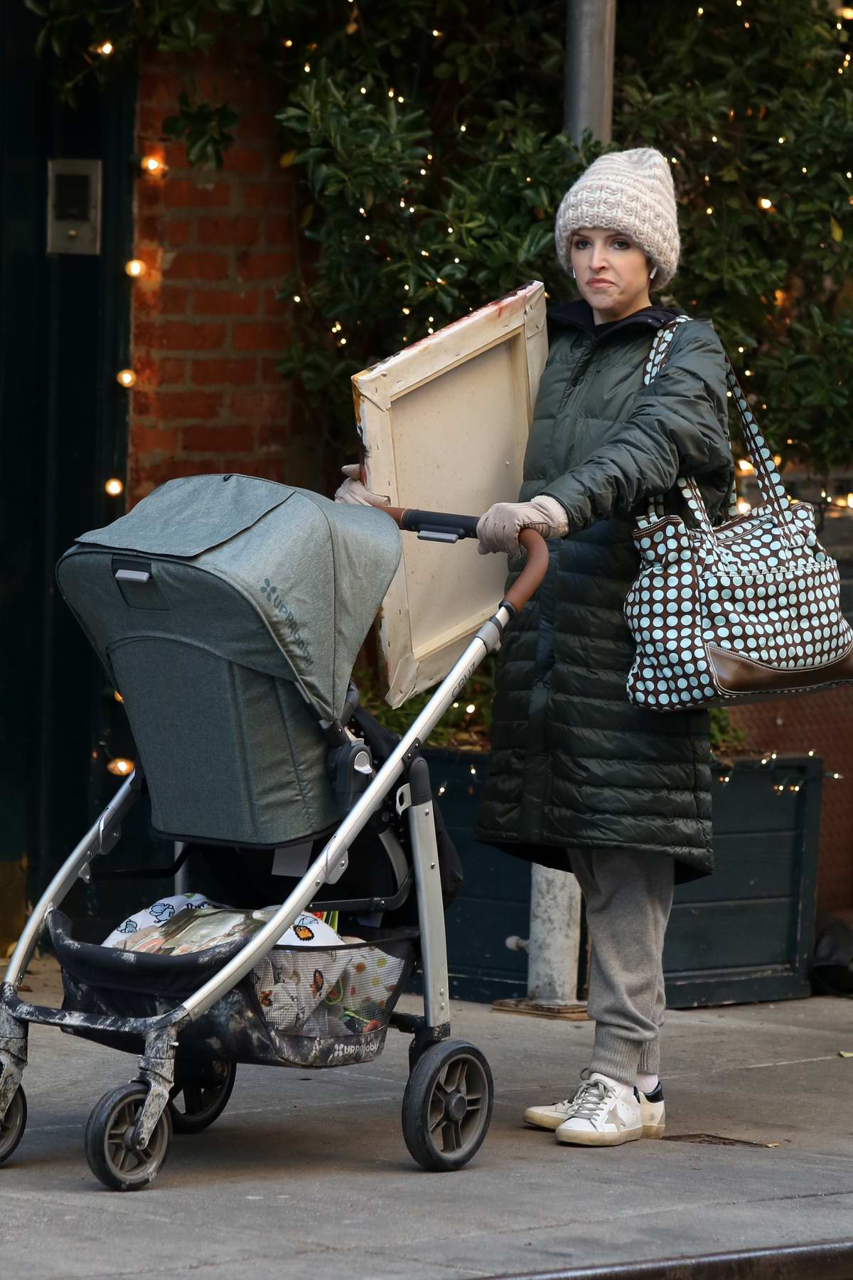Anna Kendrick seen while filming a scene with a baby stroller for 'Love Life' in the West Village, New York City