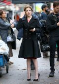 Anna Kendrick seen while filming a wedding scene for 'Love Life' in East Village in New York City