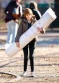 Anna Kendrick spotted carrying a mattress while filming scenes for 'Love Life' in New York City