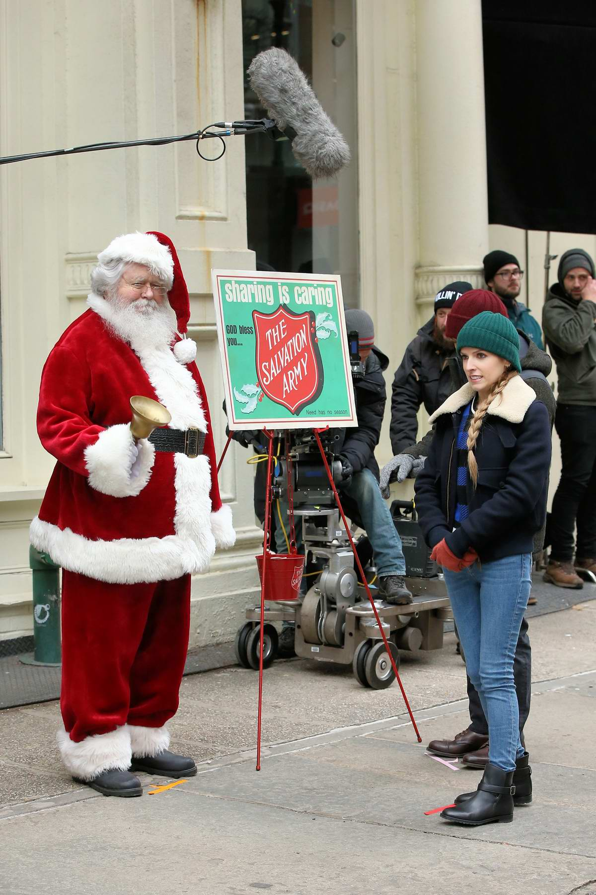 Anna Kendrick spotted while filming scenes with Santa Claus on the set 'Love Life' in New York City