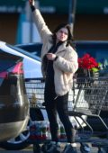 Ariel Winter sports a cream teddy jacket with leggings while shopping groceries in Los Angeles