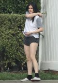Ariel Winter spotted in a tee and shorts as she grabs her DoorDash order in Studio City, California