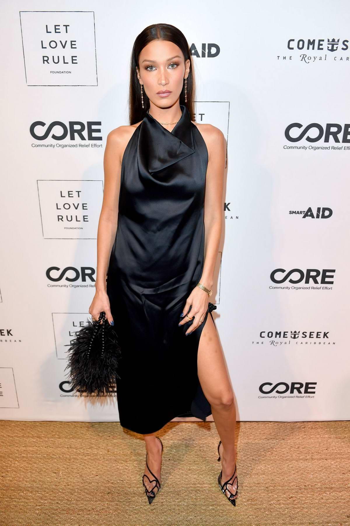 Bella Hadid attends the Core x Let Love Rule Benefit during Art Basel in Miami, Florida