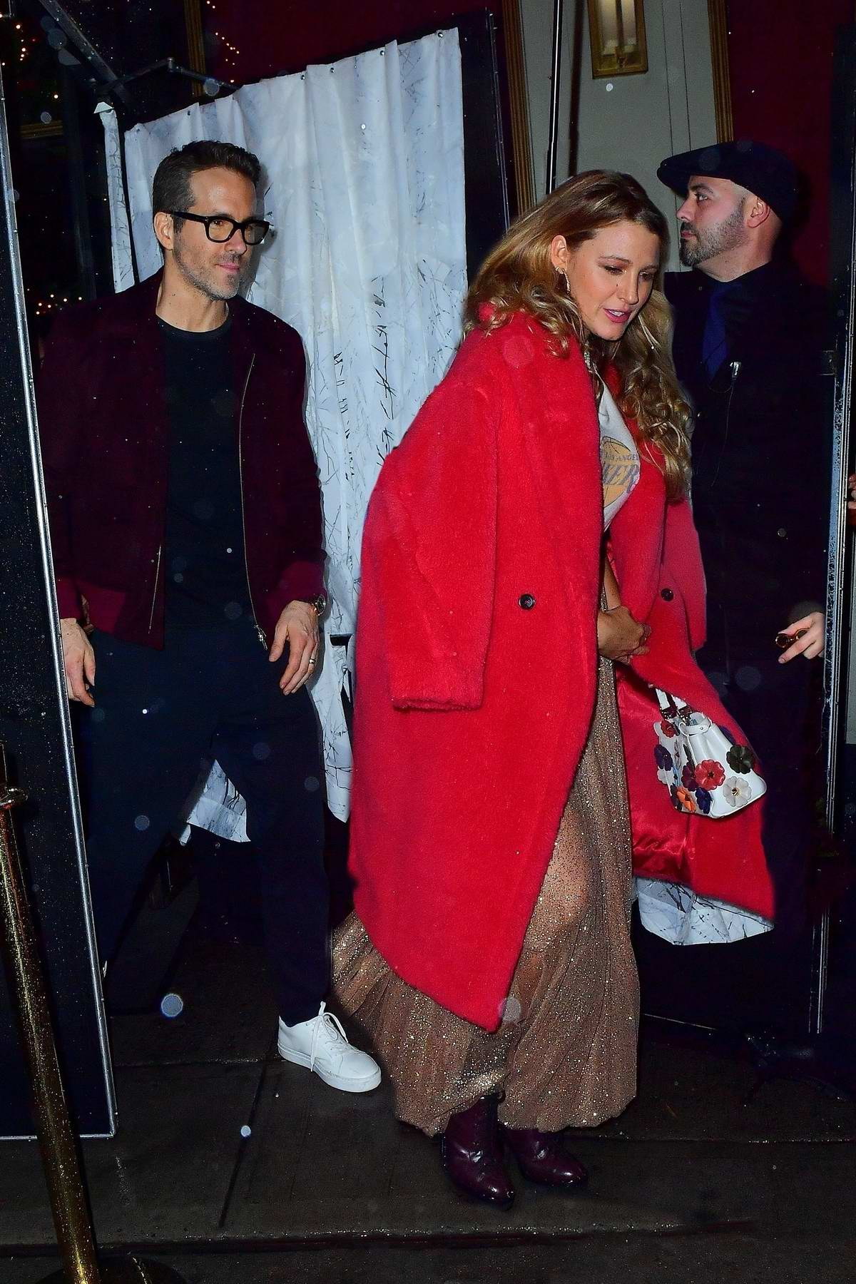 Blake Lively and Ryan Reynolds seen leaving Taylor Swift's 30th birthday bash at Oscar Wilde Restaurant in New York City