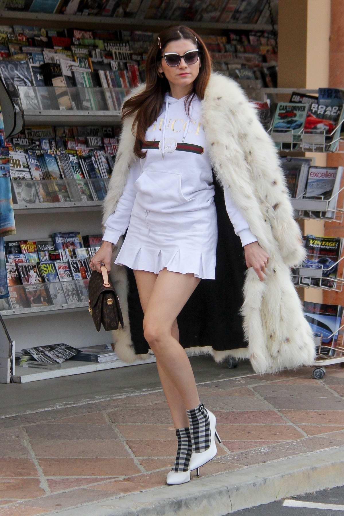 Blanca Blanco flaunts her legs in white mini skirt as she steps out in Malibu, California