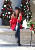 Brooke Burke poses for photos while out holiday shopping on Small Business Saturday in Beverly Hills, Los Angeles
