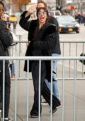 Camila Cabello waves to her fans upon arriving at her 'Romance' Album Pop-up store appearance in New York City
