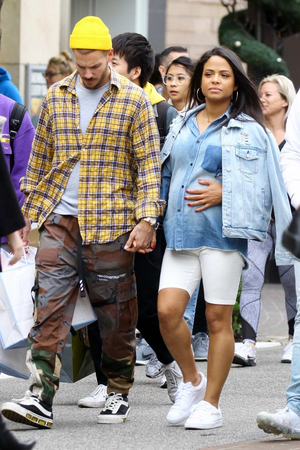 Christina Milian shops at Pottery Barn kids with boyfriend Matt Pokora in West Hollywood, California