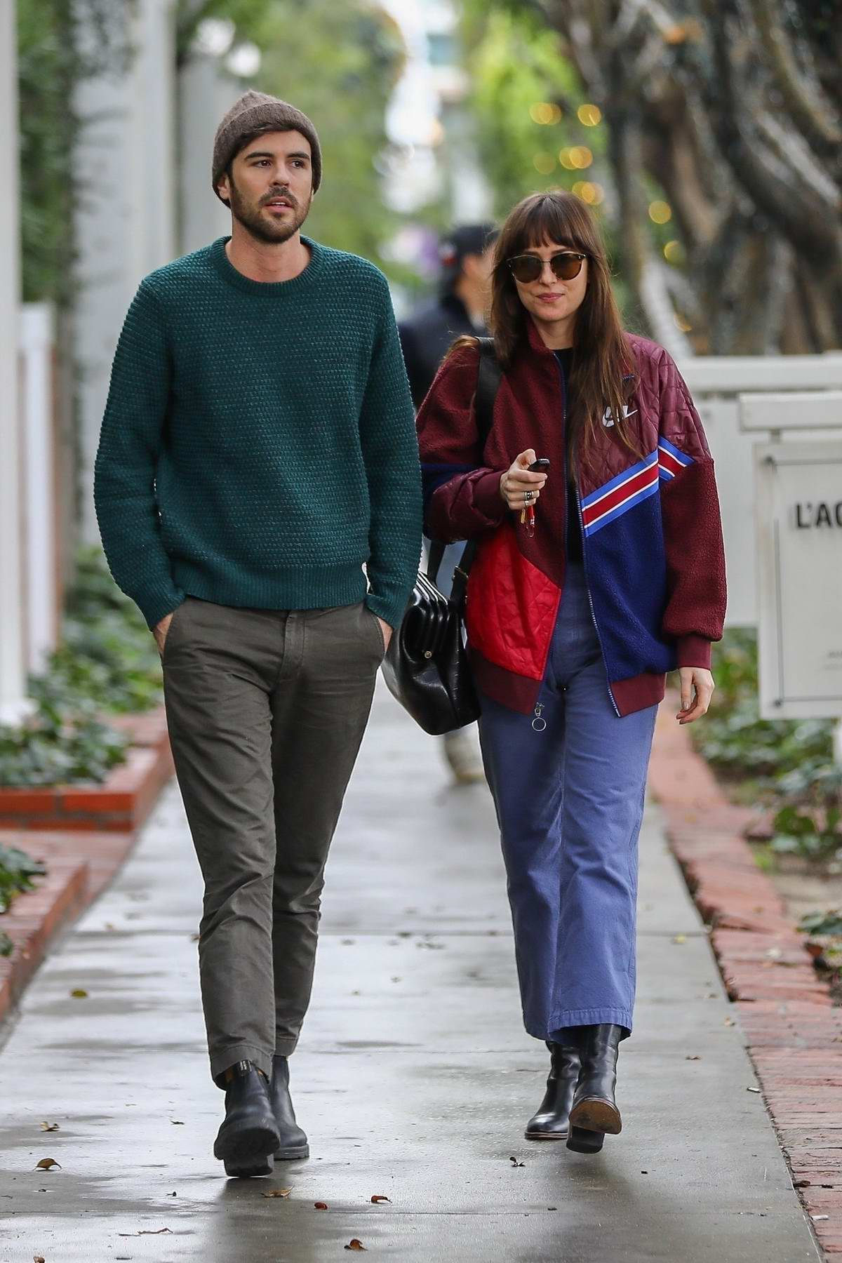 Dakota Johnson goes on a coffee run with Blake Lee at Alfred Coffee in West Hollywood, Los Angeles
