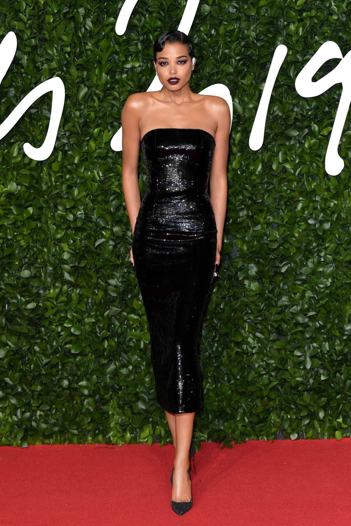 Ella Balinska attends The Fashion Awards 2019 held at Royal Albert Hall in London, UK