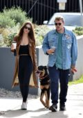 Emily Ratajkowski and Sebastian Bear-McClard stops for some groceries while walking their dog in Silver Lake, California