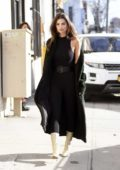 Emily Ratajkowski looks stylish in a black jumpsuit during a photoshoot in New York City