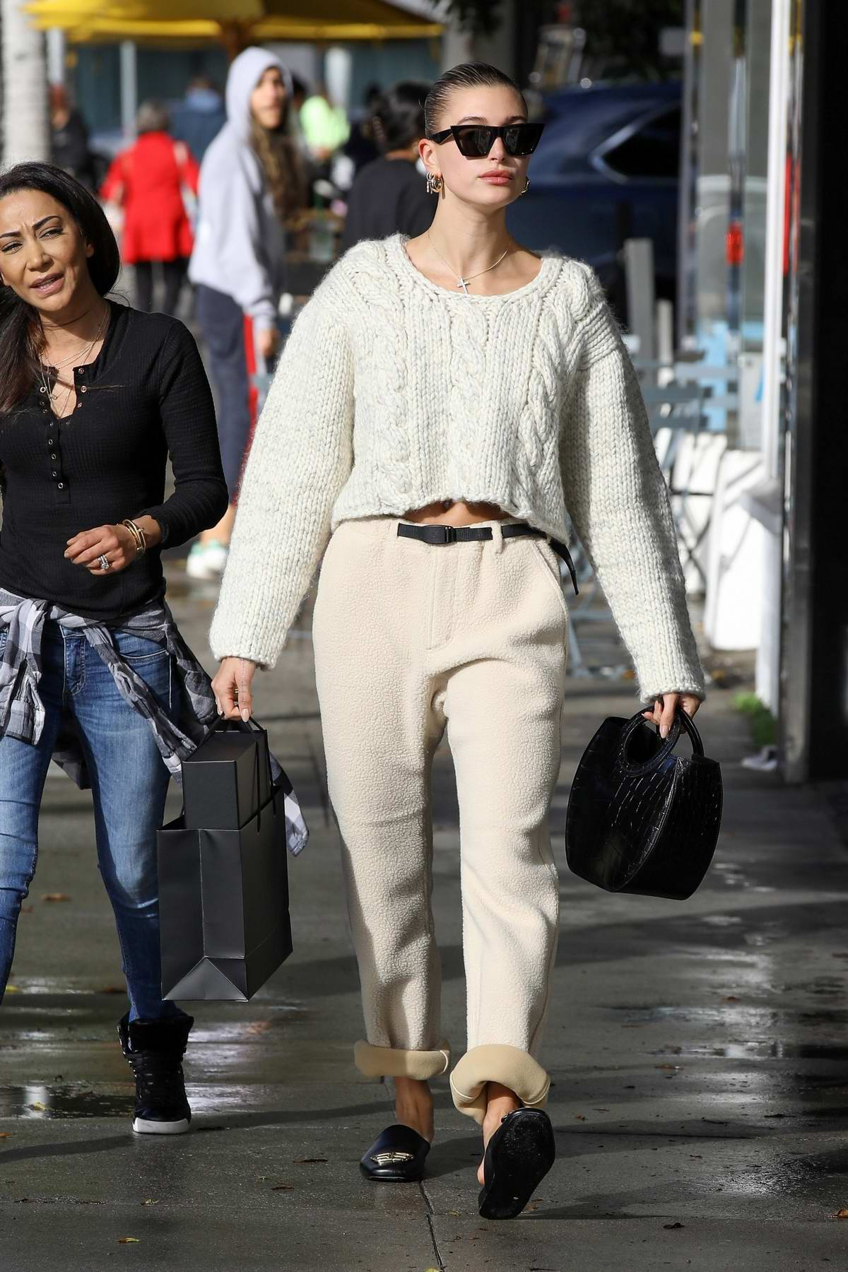 Hailey Bieber shows off a smart casual look while out running errands in Beverly Hills, Los Angeles