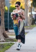Halsey seen wearing colorful dress as she grabs coffee and a salad while out with a friend in West Hollywood, Los Angeles