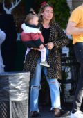 Hilary Duff steps out for a cold brew with fiance Matthew Koma and baby Banks in Los Angeles