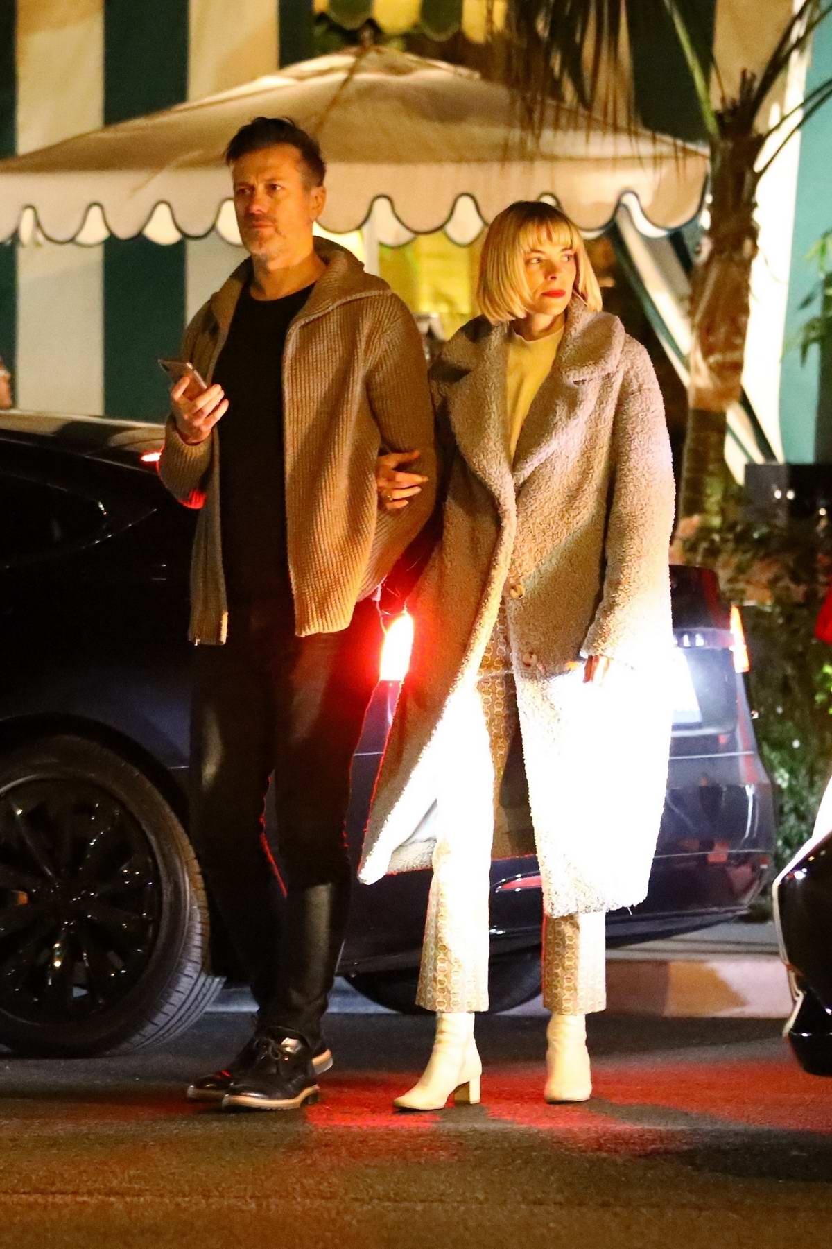 Jaime King and husband Kyle Newman seen as they leave dinner at San Vincent Bungalows in West Hollywood, California