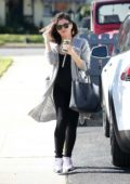 Jenna Dewan looks great in a black jumpsuit with a grey cardigan while out running errands in Los Angeles