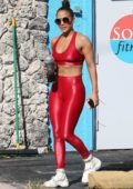 Jennifer Lopez looks fab in a bright red workout top and leggings as she hits the gym in Miami, Florida