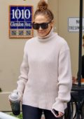 Jennifer Lopez seen wearing a pink turtleneck and leggings as she leaves a workout session in Los Angeles