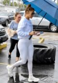 Jennifer Lopez sports all-white as she arrives at the gym in Miami, Florida