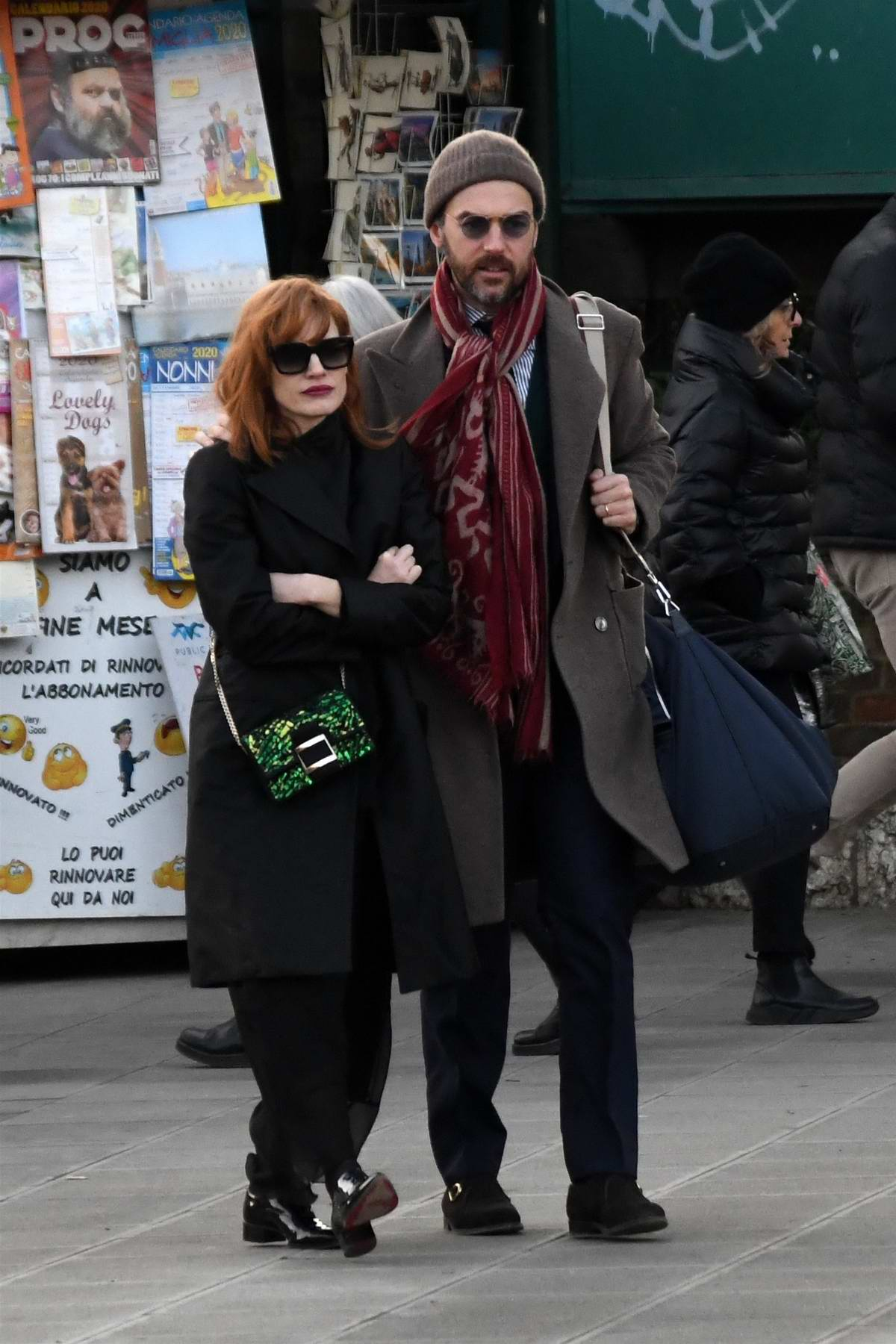 Jessica Chastain and her husband Gian Luca Passi enjoy a walk in Venice, Italy