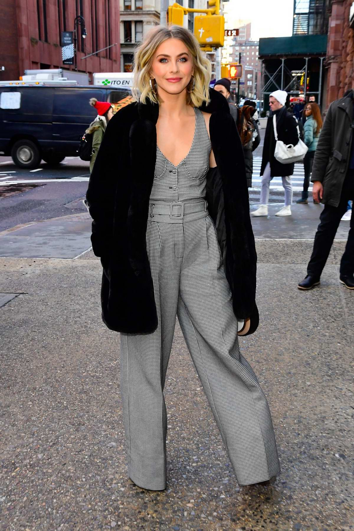 Julianne Hough looks amazing in grey houndstooth jumpsuit while visiting Build series in New York City