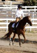 Kaley Cuoco seen horseback riding at an equestrian ranch in Los Angeles