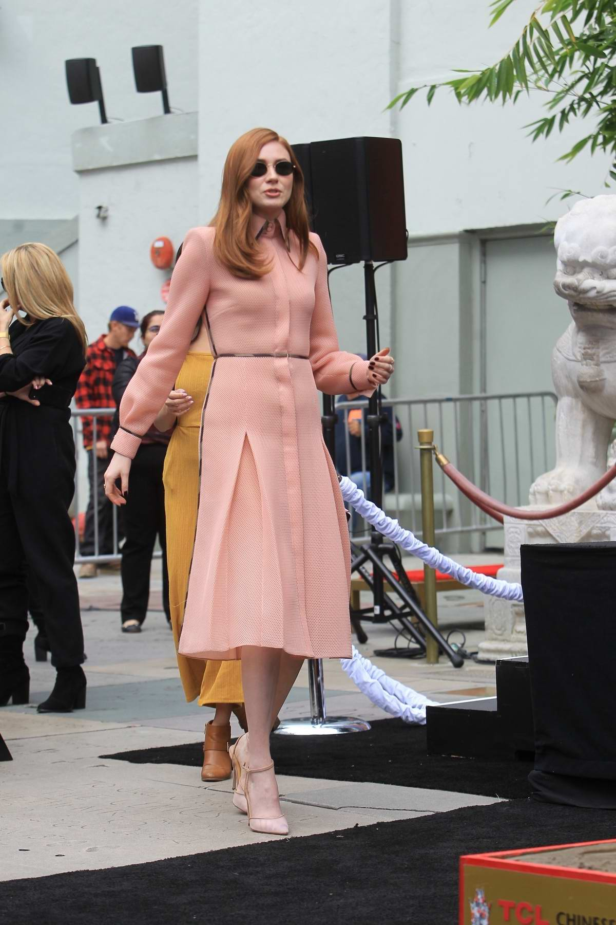 Karen Gillan attends the Hand and Footprints ceremony of Kevin Hart in Hollywood, California